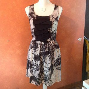 Kensie Black Beige Ruffle Detail Dress Sz. 6